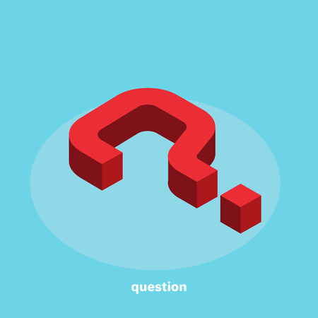 Question mark in isometric style on blue background.