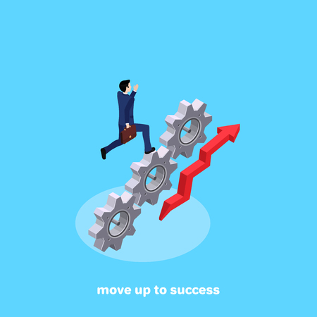 A man in a business suit is running up the gear, an image in isometric style Illustration
