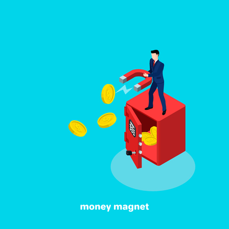 A man in a business suit with a magnet in his hands is standing on a big safe, an isometric image