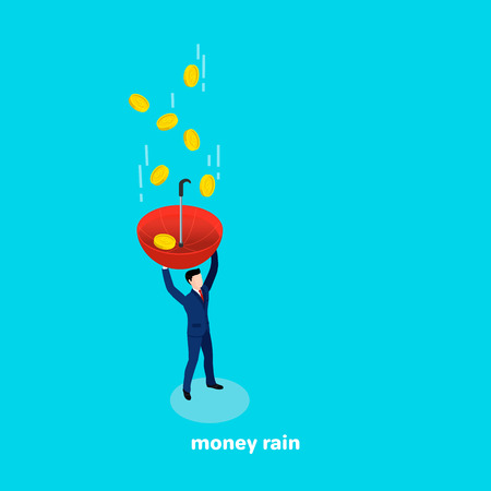 A man in a business suit with an umbrella in his hand is catching falling money, isometric image