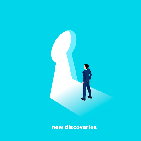 Man in a business suit in keyhole goes to new discoveries, isometric style