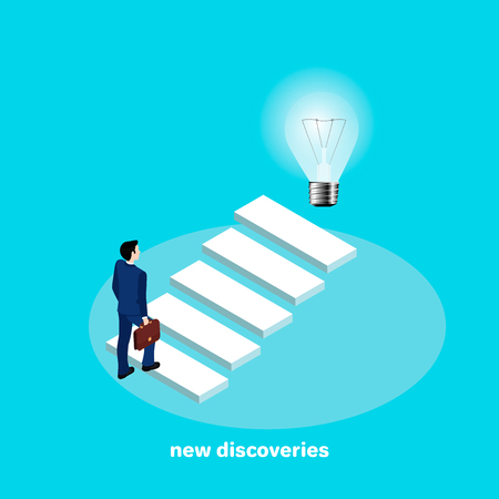 Man in a business suit near stairs  goes to new discoveries, isometric style