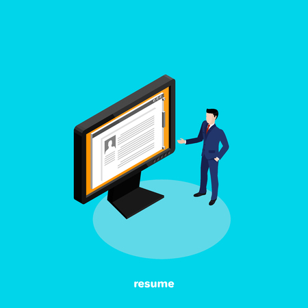 a man in a business suit presents his resume on a computer monitor, an isometric image Illustration