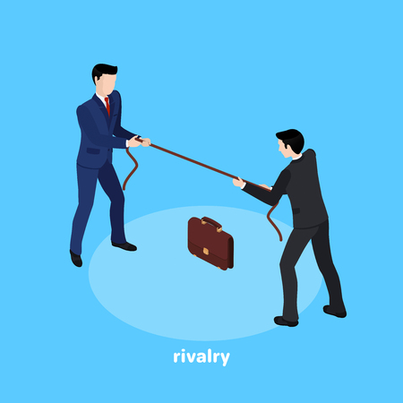 men in a business suit pull a rope, an isometric image