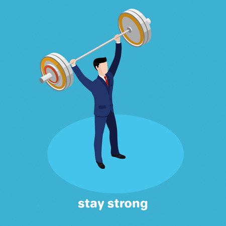 strong man in business suit with a barbell in hand on a blue background, isometric illustration