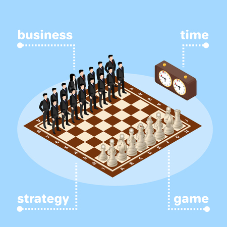 business team, chess board with figures, business strategy Illustration