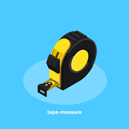 Icon of a measuring tape on a blue background, isometric style. Illustration