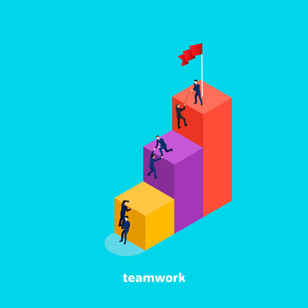 people in business suits help each other on the top of the diagram, the image is isometric style Illustration