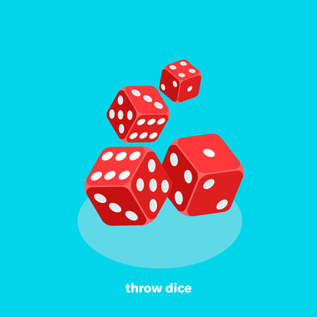 Red dice on a blue background Stock Vector - 96853555