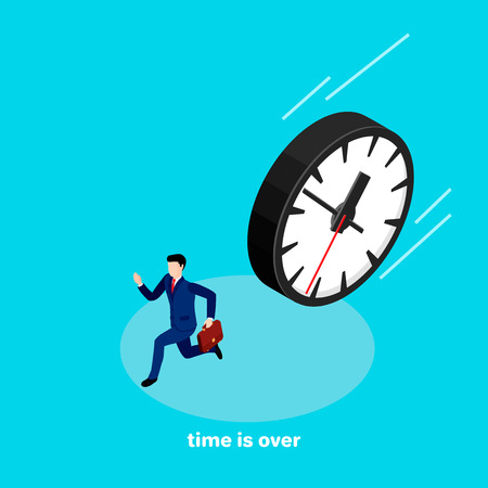 A man in a business suit with a briefcase in his hand runs away from the clock rolling on him Illustration