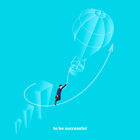A man in a business suit clutching his hand with a rope flies to the top in a balloon