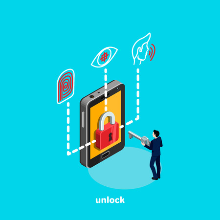 Unlock smartphone and identity system, a man in a business suit with a key in his hands, an isometric image