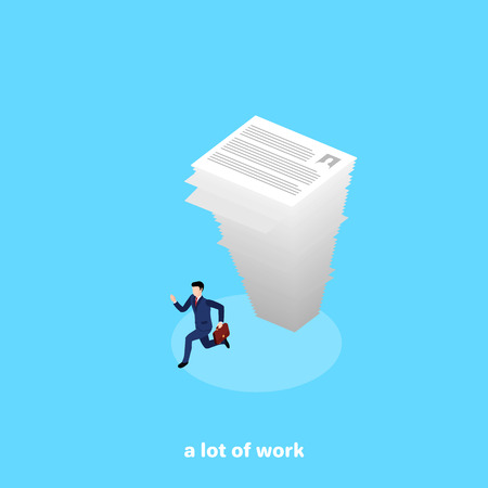 a falling large stack of paper on a runaway man in a business suit, an isometric image