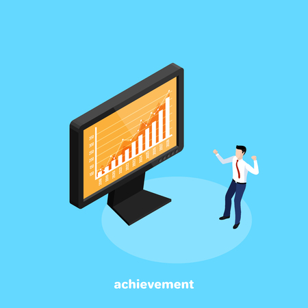 A rising graph on the monitor in front of businessman