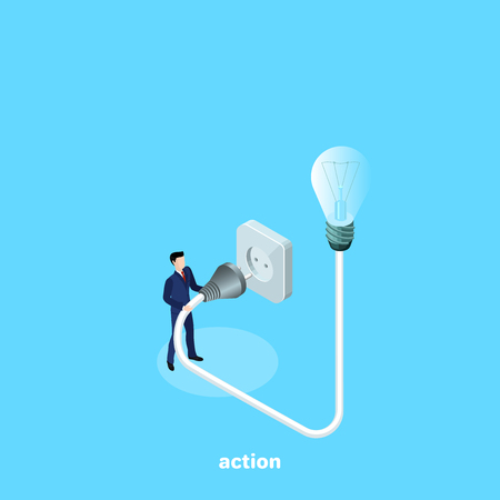 A man in a business suit turns on a light bulb Vectores