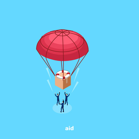 A people catch a parachute descending box with a help, isometric image Çizim