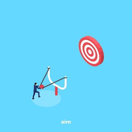 A man in a business suit aiming from a slingshot to a target, an isometric image