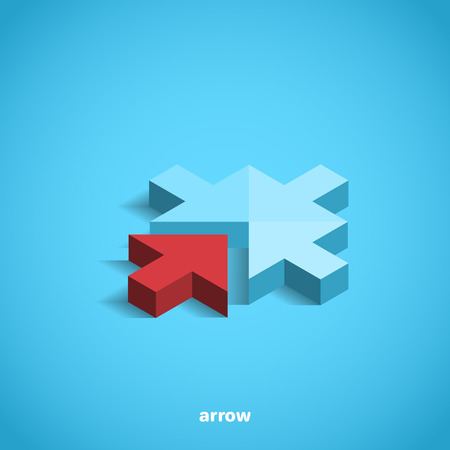 A red arrow on blue background, isometric image