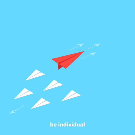 red paper airplane flies in the opposite direction from a group of other airplanes, isometric image Stok Fotoğraf - 97281161