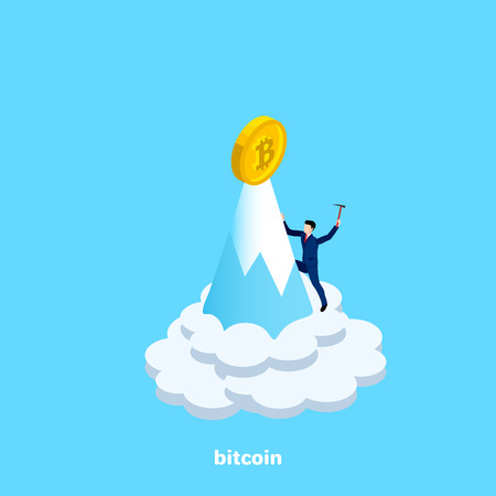 men in a business suit with a pick in the hand climbs to the top of the mountain for bitcoin, isometric image