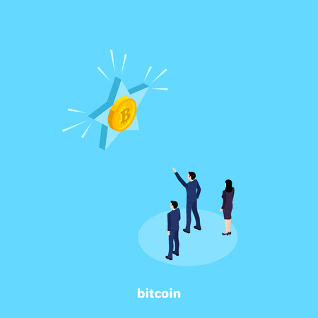 a man in a business suit shows colleagues a star with bitcoin, an isometric image Illustration