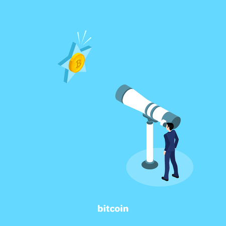 a man in a business suit looks at a large telescope on a star with a coin bitcoin, an isometric image Illustration