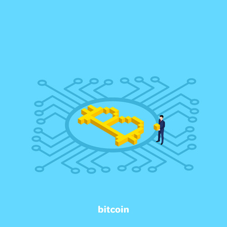 bitcoin lies on the chip and emits glow, an isometric image