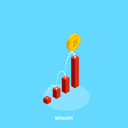 The coin bitcoin moves along an increasing trajectory along a diagram, an isometric image