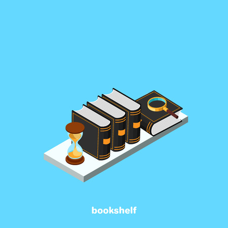 Shelf with books and an hourglass on a blue background, isometric image Illustration