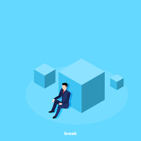 a man in a business suit sitting leaning his back on a big cube, an isometric image
