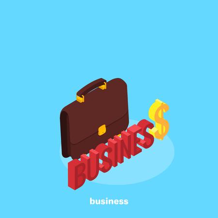 Portfolio icon in isometric style, business person attribute
