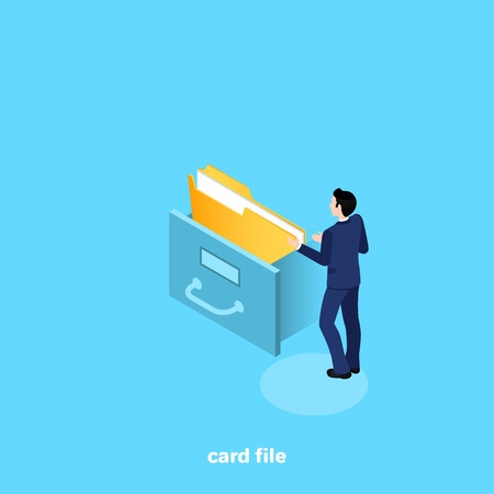 a man in a business suit pulls a folder from the card file, isometric image