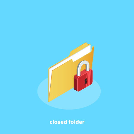 closed file with lock, isometric icon Illustration