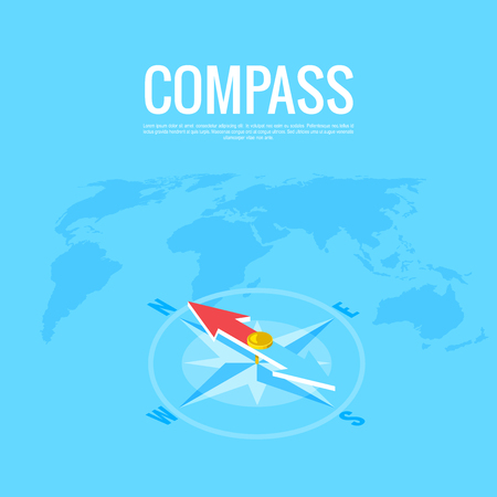 Compass on the background of the world map