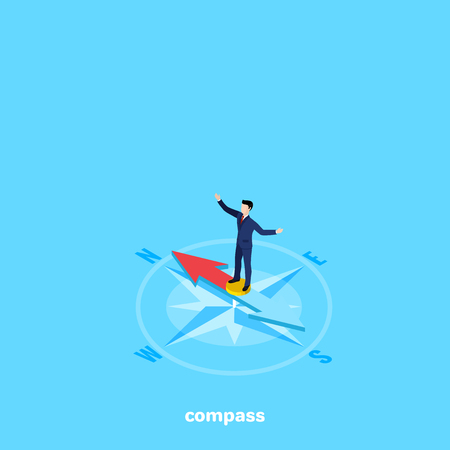 A man in a business suit stands on a compass needle