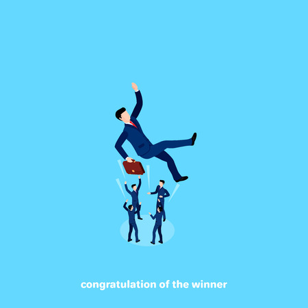 People in business suits throw up a colleague congratulating on success, isometric image illustration.