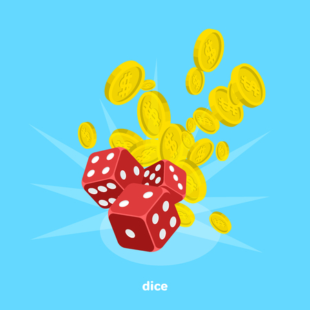 Red dice and a lot of money on a blue background