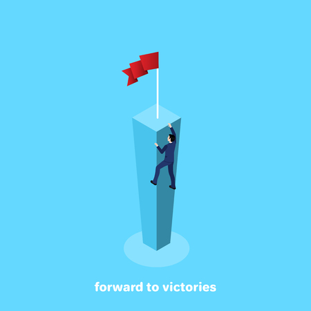 a man in a business suit climbs on a high column for victory, an isometric image