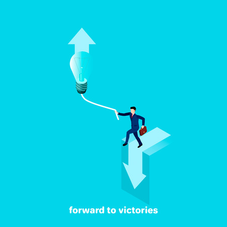 a man in a business suit holds on to the lamp wire, isometric image Illustration