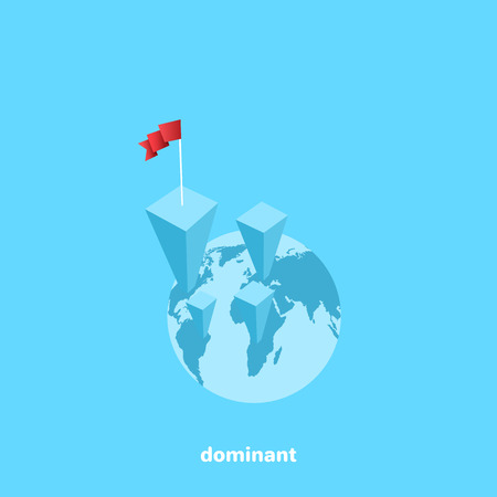growing charts on the globe and leader flag, isometric image