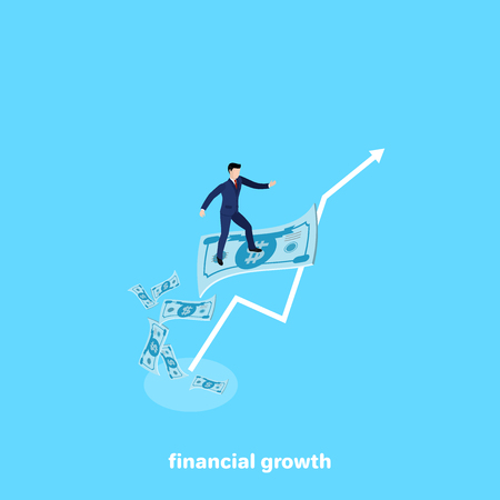 a man in a business suit is standing on a flying money bill, an isometric image Illustration