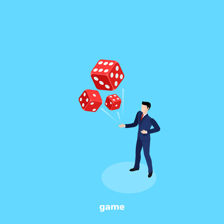 a man in a business suit tossed red dice, isometric image