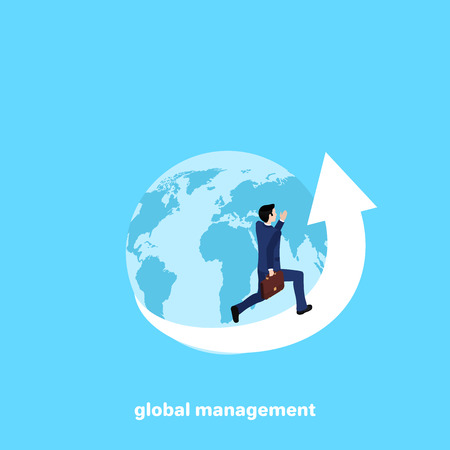a man in a business suit runs along the arrow of the envelope globe, isometric image Vector illustration. Illustration