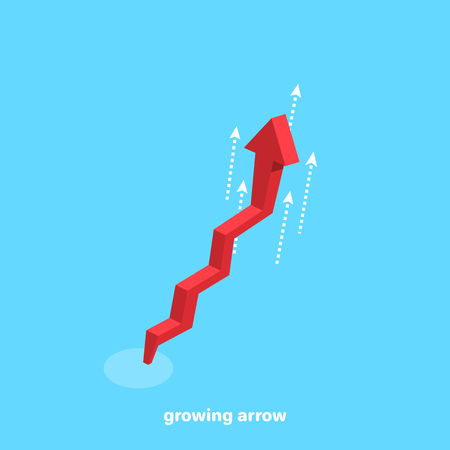 red arrow swiftly rising graph on a blue background, isometric image Illustration