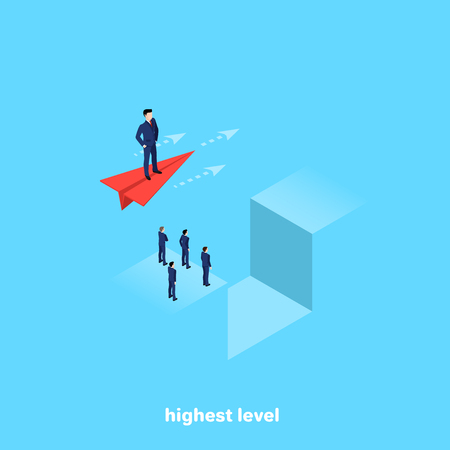 a man in a business suit flies over an abyss on a red paper plane, an isometric image Vectores