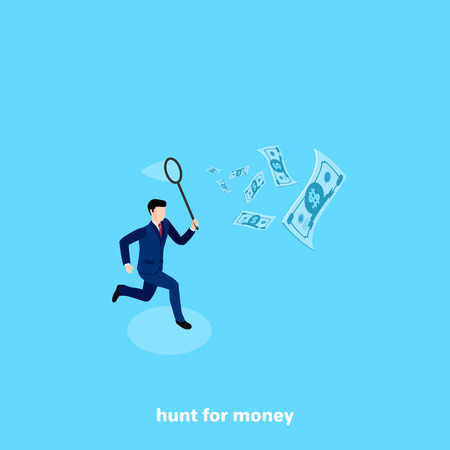 a man in a business suit with a net in his hand chases after flying money, an isometric image