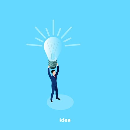 a man in a business suit with a  light bulb over his head, there is an idea, an isometric image