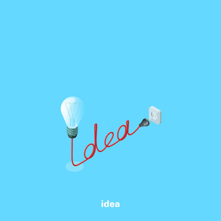 idea with a light bulb and socket, isometric image