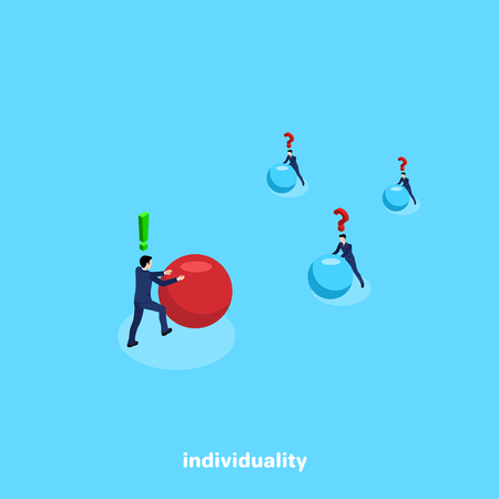 men in business suits roll balls in different directions, isometric image