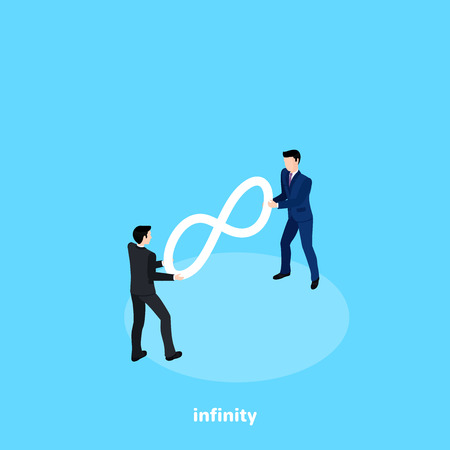 men in business suits draw the sign of infinity, isometric image 向量圖像